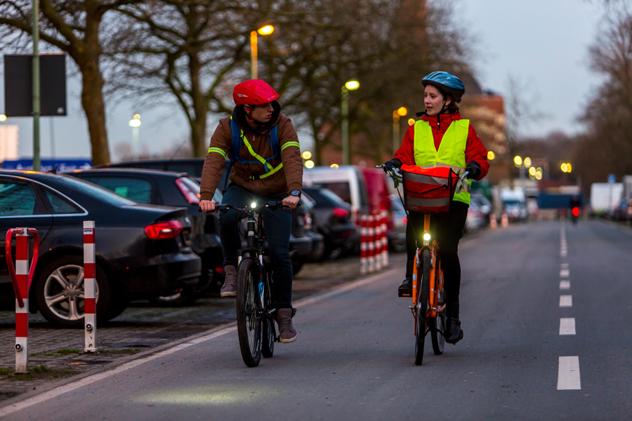 Bicyclists with safety gear