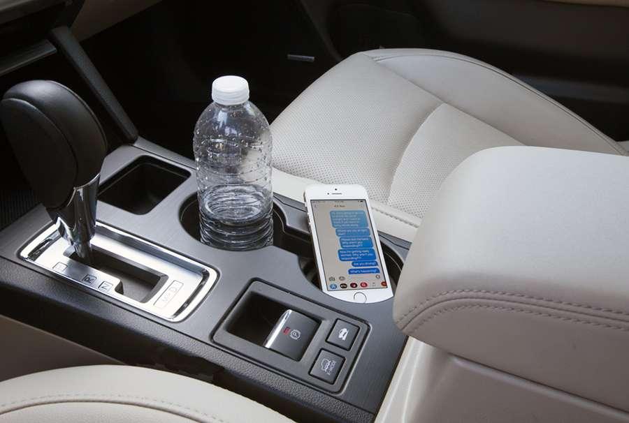 Smartphone in Subaru Outback cupholder